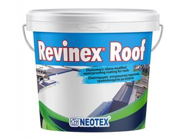 NEOTEX - Revinex Roof - 12kg - ΛΕΥΚΟ - Ελαστομερές ακρυλικό επαλειπτικό ταρατσών, εξαιρετικής αντοχής με σιλάνια.
