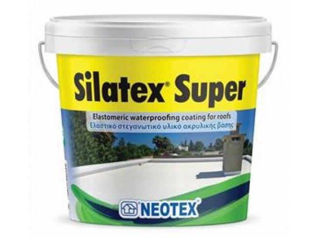 NEOTEX - Silatex Super - 12kg - ΛΕΥΚΟ - Ακρυλικό επαλειπτικό στεγανωτικό ταρατσών υψηλής ελαστικότητας και αντοχής.