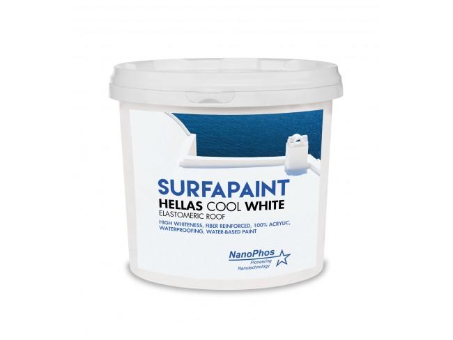 NANOPHOS - SurfaPaint Hellas Cool White Elastomeric Roof - 10lt - Ινοπλισμένο 100% ακρυλικό ελαστομερές στεγανωτικό υδατικής βάσης πολύ υψηλής λευκότητας.