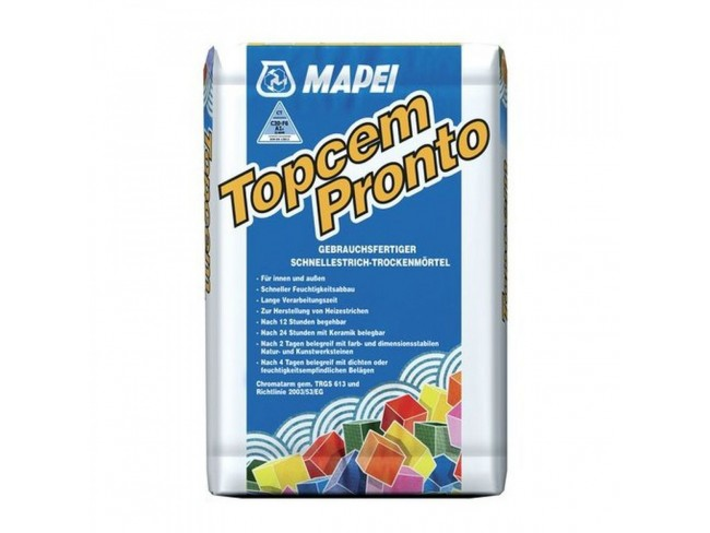 MAPEI - TOPCEM PRONTO 25kg - Έτοιμο προς χρήση, προαναμεμειγμένο κονίαμα για την προετοιμασία μη συρρικνωμένων τσιμεντοειδών δαπέδων ταχείας ξήρανσης.